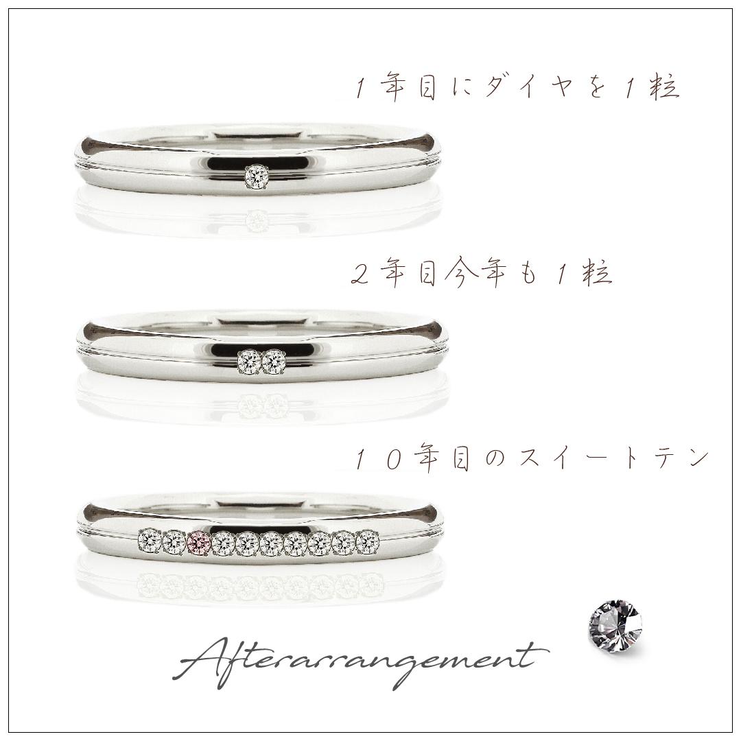 1周年記念でダイヤモンドを1ピース追加、2周年でもう1ピース、10周年で10ピースになった結婚指輪。