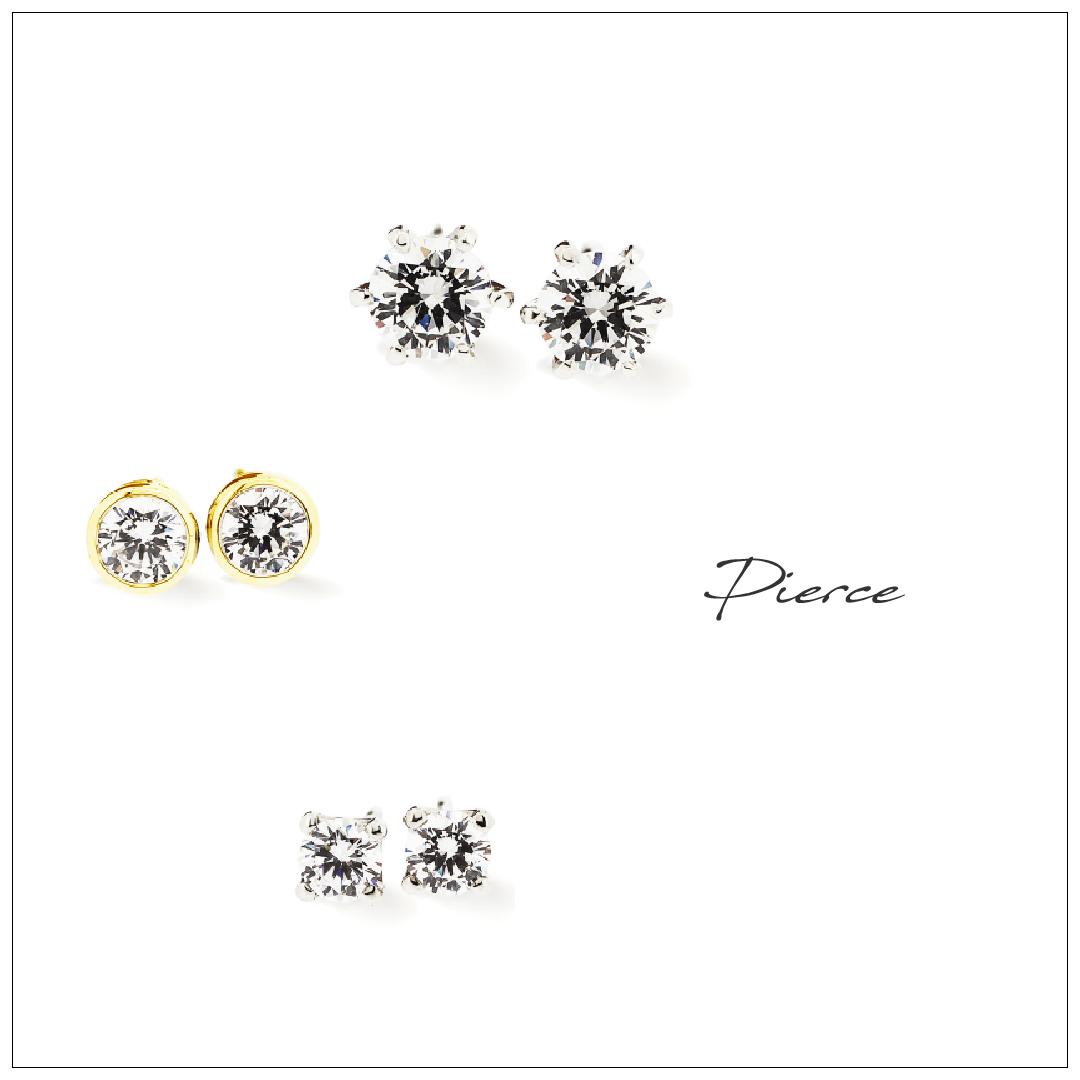 プラチナの6点留、イエローゴールドのフクリン、プラチナの4点留のダイヤのピアスが並んでいます。