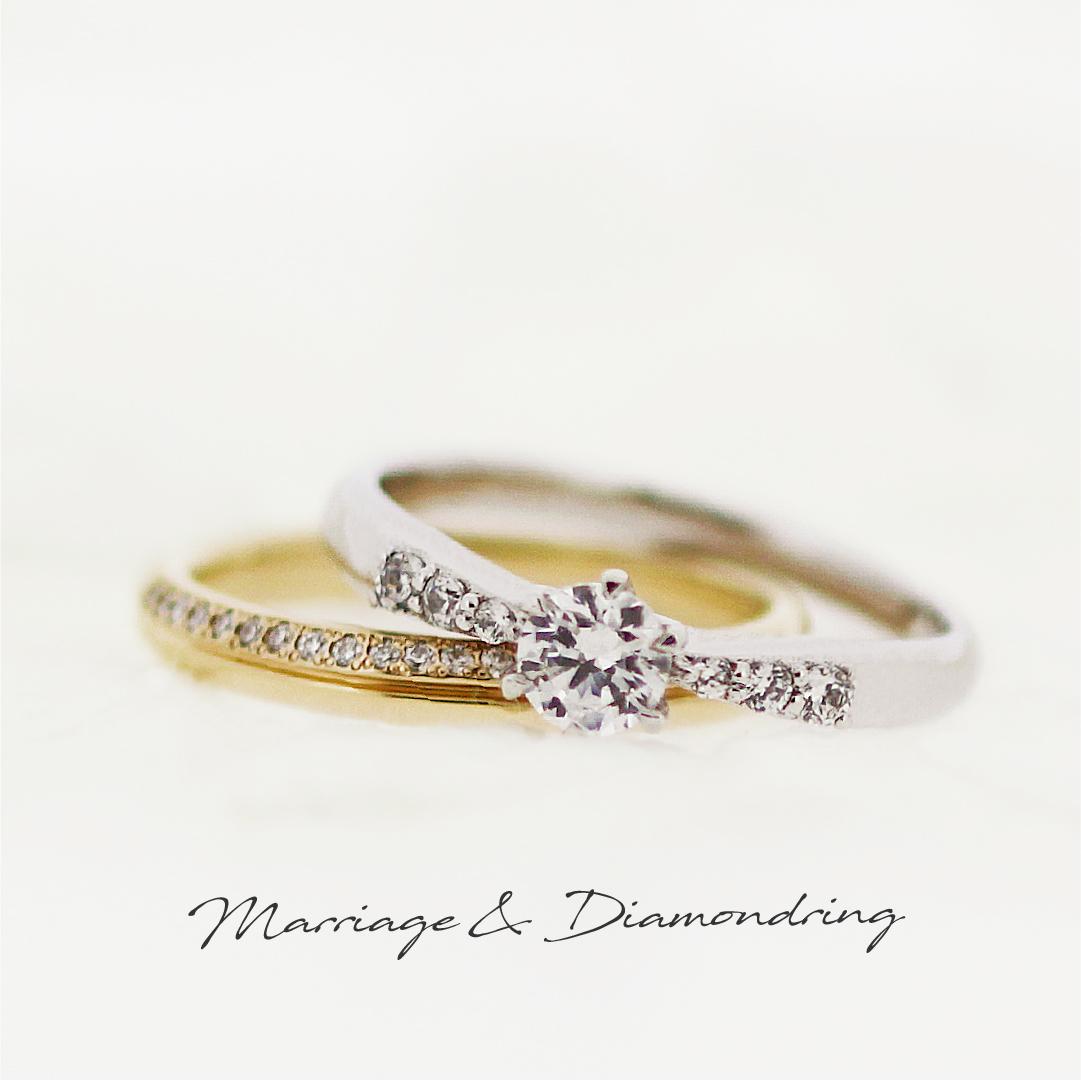 センターダイヤに向かって細くなるよう、両サイドに3ピースずつ大中小の脇石を留めたプラチナの婚約指輪と、真ん中ラインの上部にメレダイヤを並べた、ストレートラインのイエローゴールドの結婚指輪です。