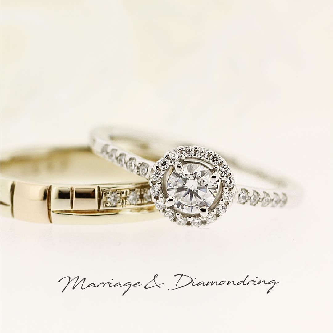 センターダイヤをぐるりと取り巻くメレダイヤがゴージャスなプラチナの婚約指輪と、ハニーゴールドとピンクゴールドのコンビの結婚指輪です。2本ともストレートラインです。