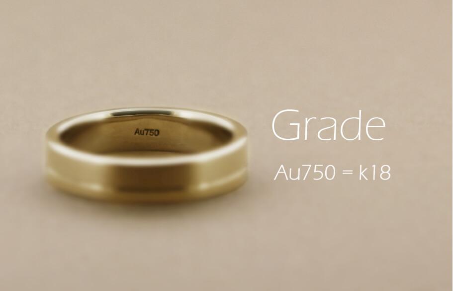ゴールドの結婚指輪の内側にAu750の品位刻印