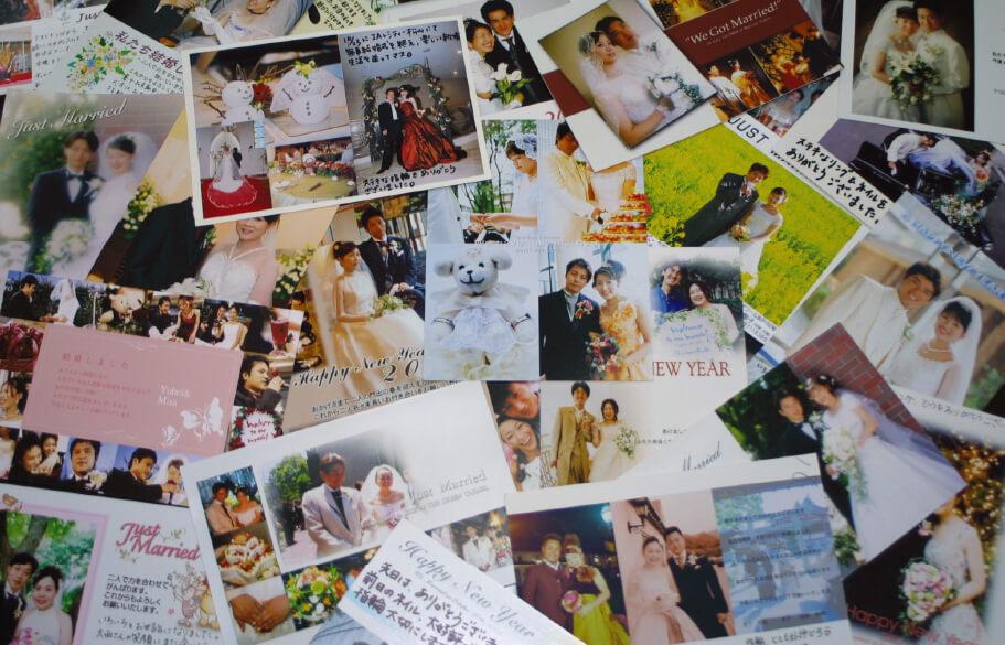 お客様からの結婚しましたはがきの集合写真
