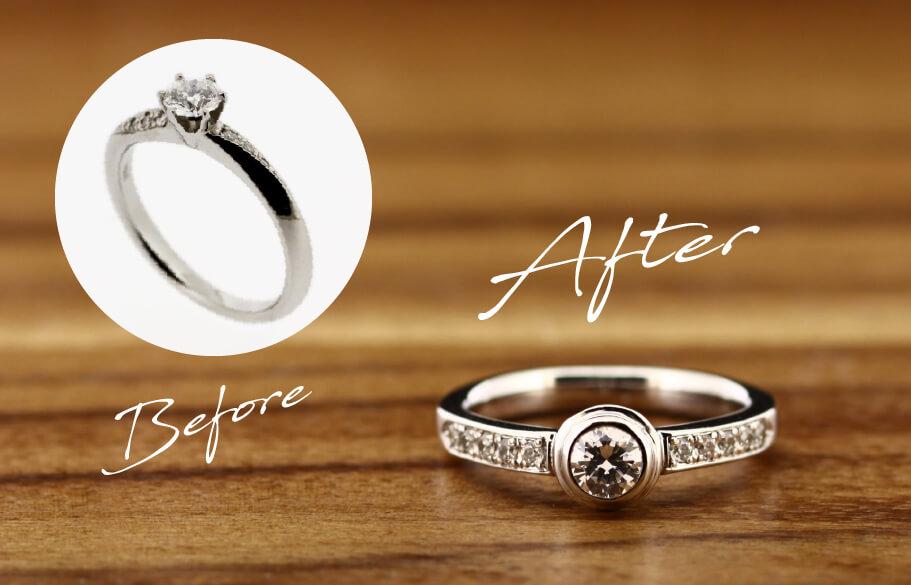 自分の婚約指輪をリモデルしたビフォーアフター
