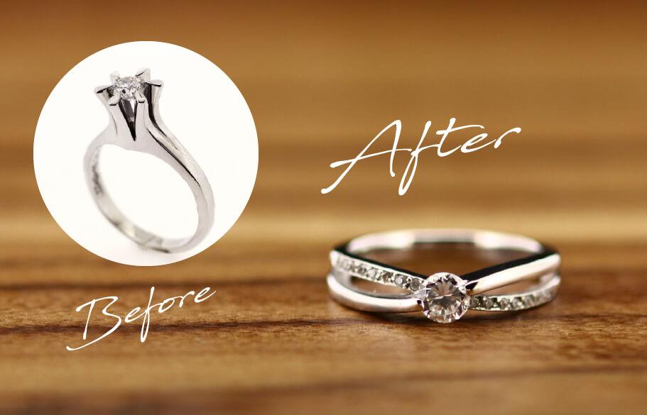 親の婚約指輪をリモデルしたビフォーアフター